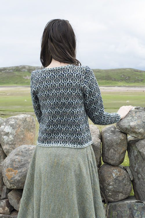 Loch Lomond cardigan design patterncard kit by Jade Starmore in Hebridean 2 Ply pure British wool hand knitting yarn