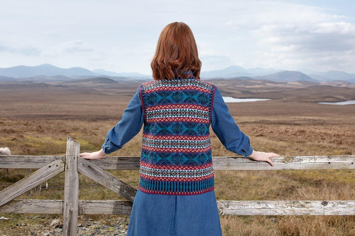 Mara patterncard knitwear design by Alice Starmore in pure wool Hebridean 2 Ply hand knitting yarn