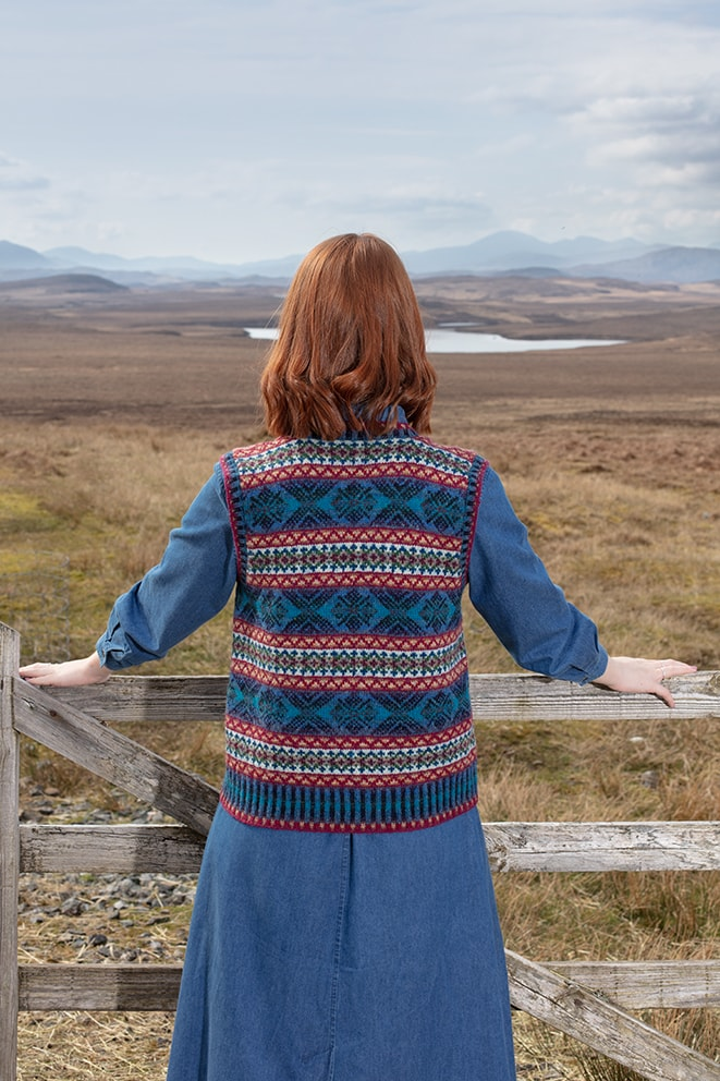 Mara patterncard knitwear design by Alice Starmore in pure wool Hebridean 2 Ply hand knitting yarn