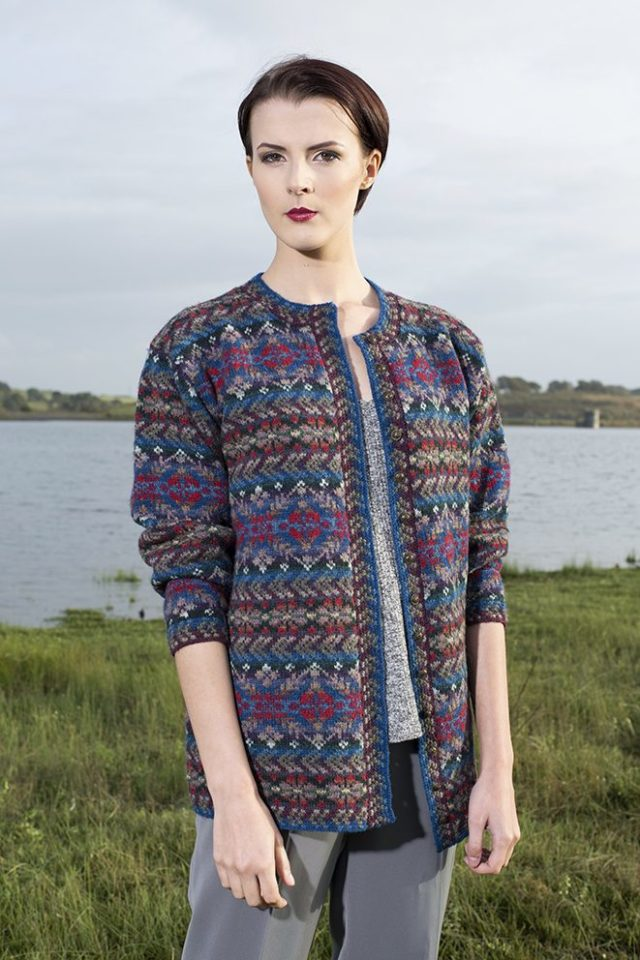 Marina cardigan design patterncard kit by Alice Starmore in Hebridean 2 Ply pure British wool hand knitting yarn