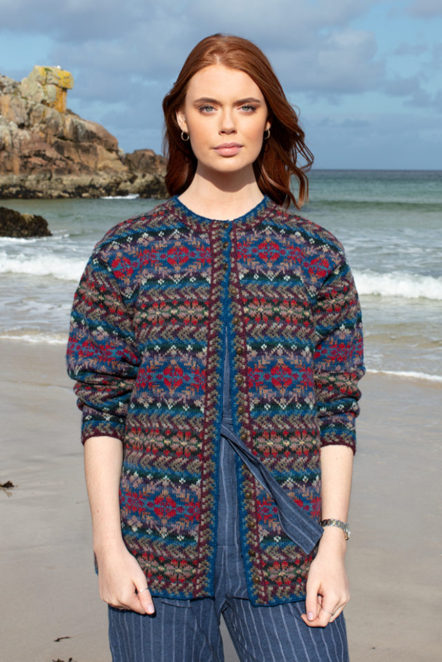 Marina cardigan patterncard knitwear design by Alice Starmore in pure wool Hebridean 2 Ply hand knitting yarn