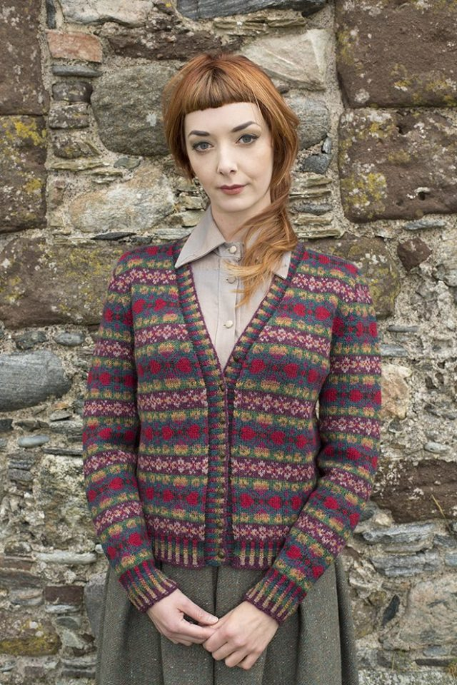 Maud cardigan patterncard kit by Alice Starmore in Hebridean 2 Ply pure British wool hand knitting yarn