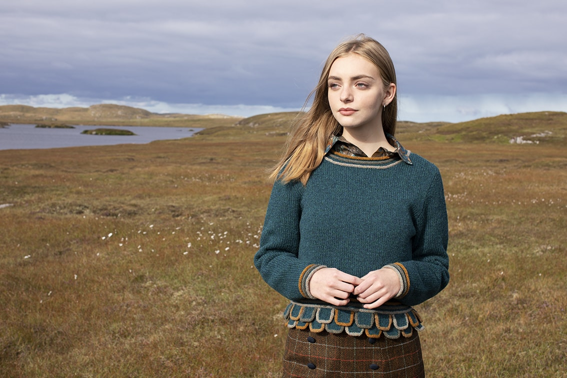 Mol Eire patterncard kit design by Jade Starmore in Hebridean 2 Ply yarn