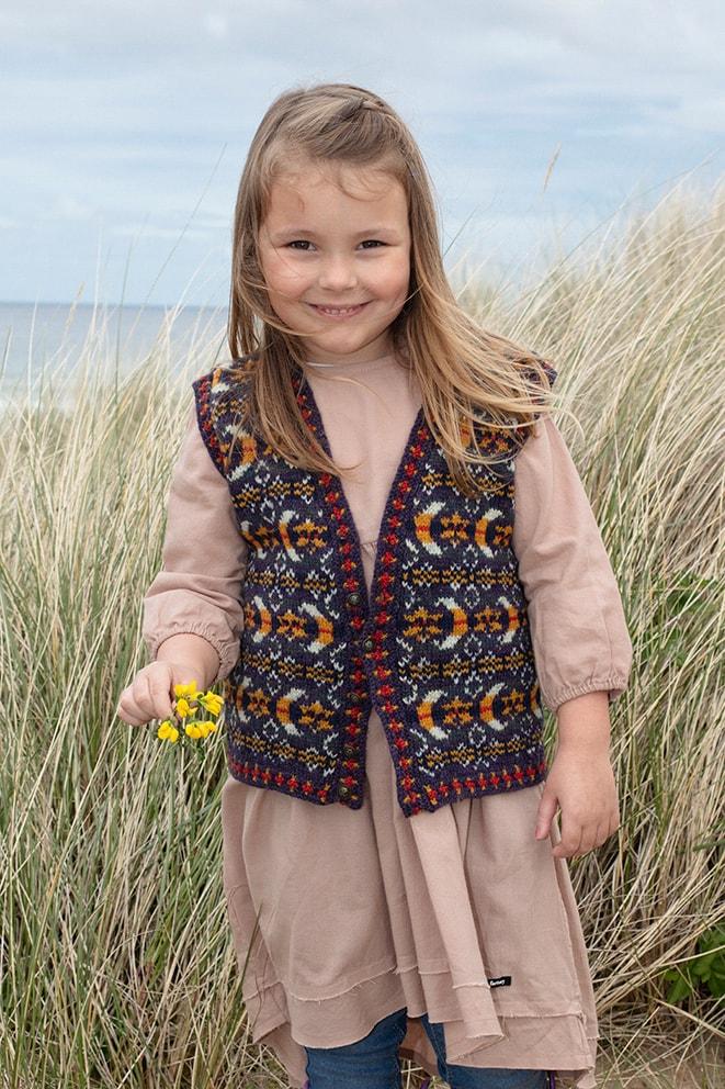 Moon & Stars patterncard knitwear design by Jade Starmore in pure wool Hebridean 2 Ply hand knitting yarn