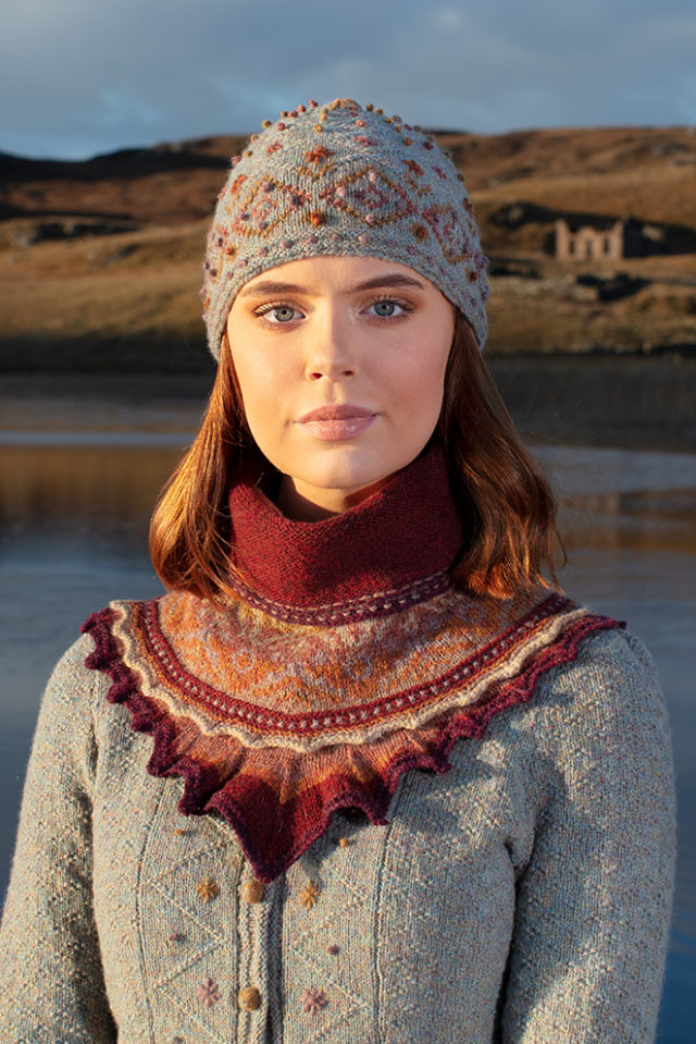 Mountain Hare Hat and Herald Set knitwear designs by Alice Starmore in pure wool Hebridean 2 Ply hand knitting yarn