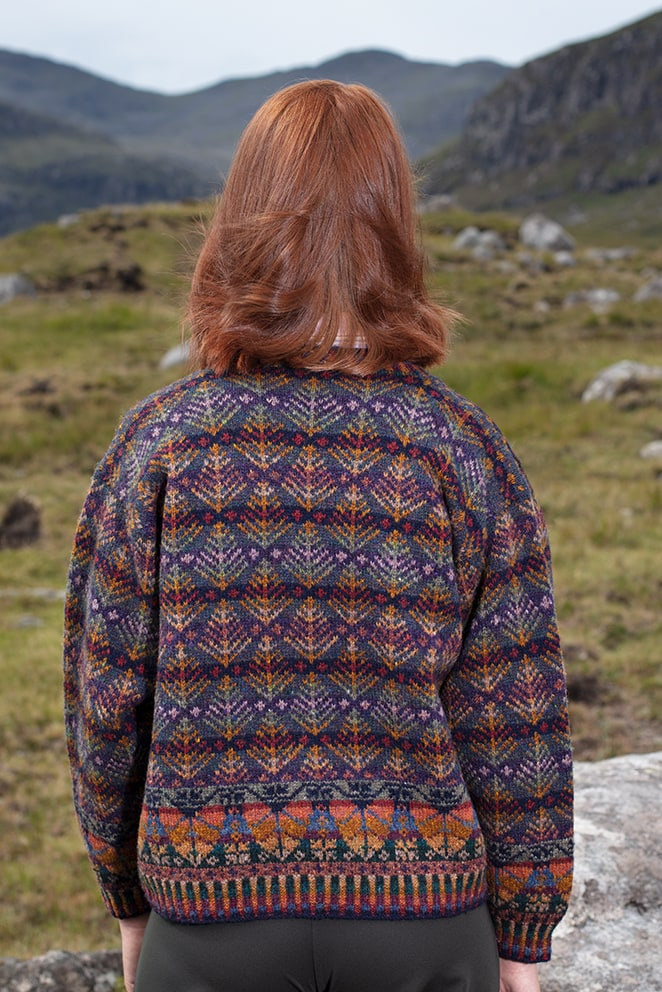 Oregon Autumn Cardigan patterncard knitwear design by Alice Starmore in pure wool Hebridean 2 Ply hand knitting yarn