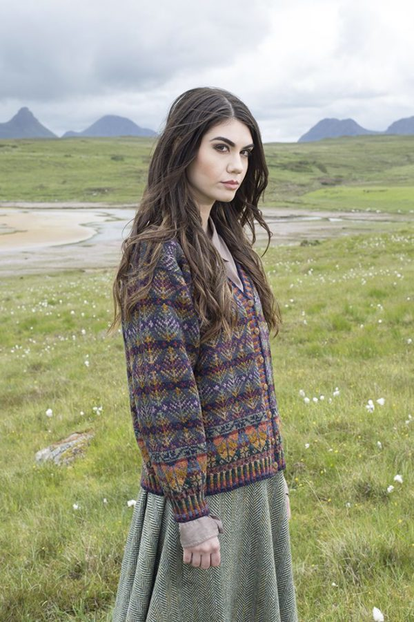 Oregon cardigan design patterncard kit by Alice Starmore in Hebridean 2 Ply pure British wool hand knitting yarn