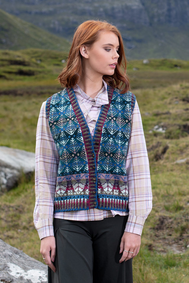 Oregon Spring Waistcoat patterncard knitwear design by Alice Starmore in pure wool Hebridean 2 Ply hand knitting yarn