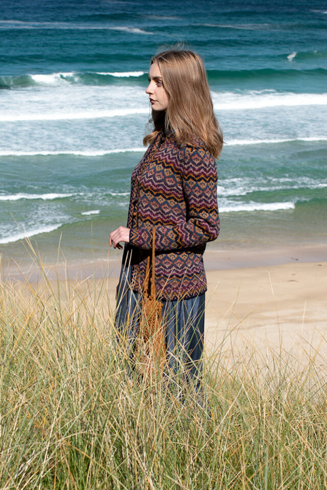 Painted Lady patterncard kit design by Jade Starmore in Hebridean 2 Ply yarn