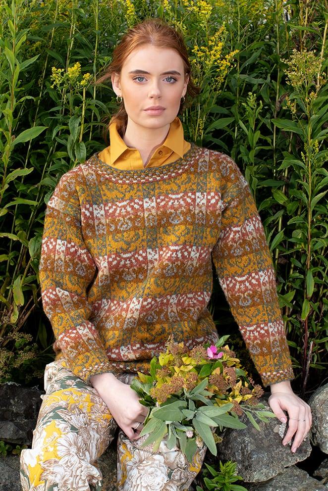 Rheingold patterncard knitwear design by Jade Starmore in pure wool Hebridean 2 Ply hand knitting yarn