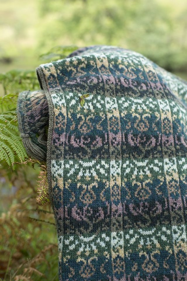 Rheingold Wrap patterncard kit by Jade Starmore in Hebridean 2 Ply pure British wool hand knitting yarn
