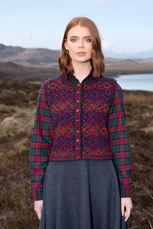 Rosarie Waistcoat patterncard knitwear design by Alice Starmore in pure wool Hebridean 2 Ply hand knitting yarn