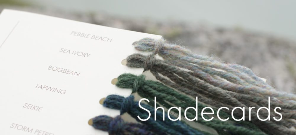 Shadecards of Alice Starmore hand knitting yarn range