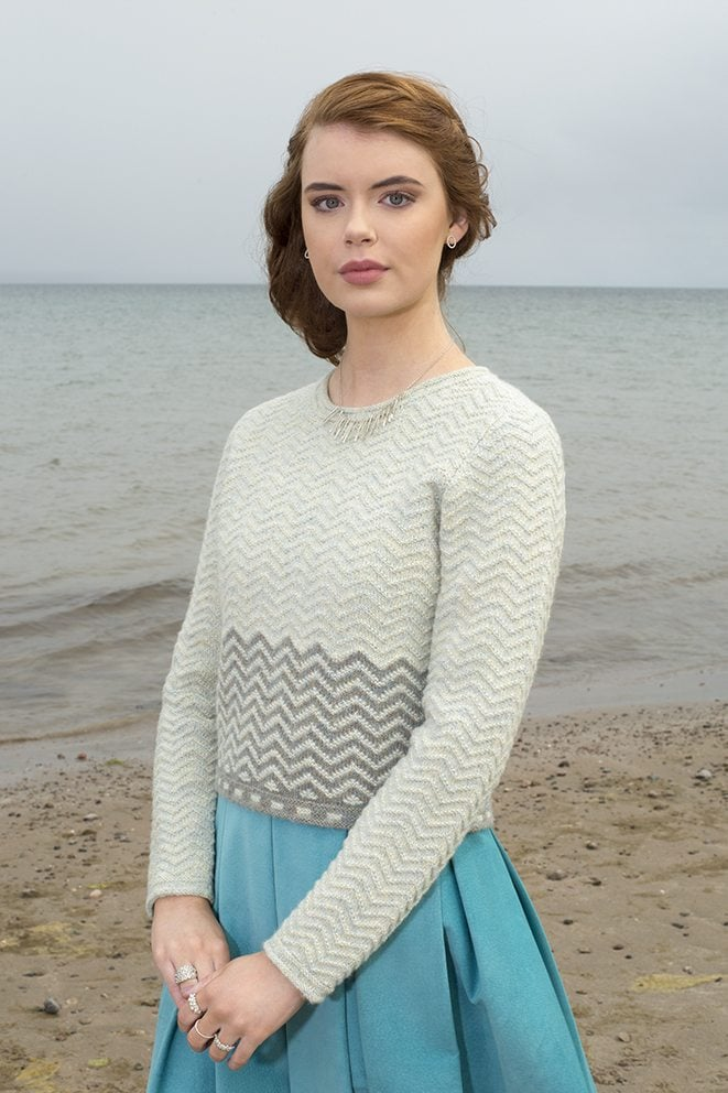 Sheshader sweater patterncard kit by Jade Starmore in Hebridean 2 Ply pure British wool hand knitting yarn