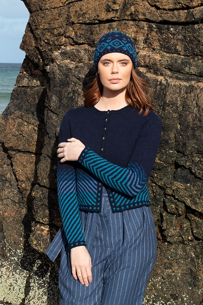 Traigh patterncard knitwear design by Jade Starmore in pure wool Hebridean 2 Ply hand knitting yarn