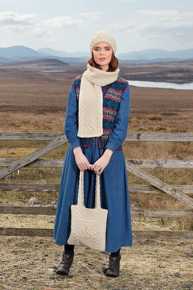 Mara and Triskel patterncard knitwear designs by Alice Starmore in pure wool Hebridean 2 Ply and Bainin hand knitting yarn