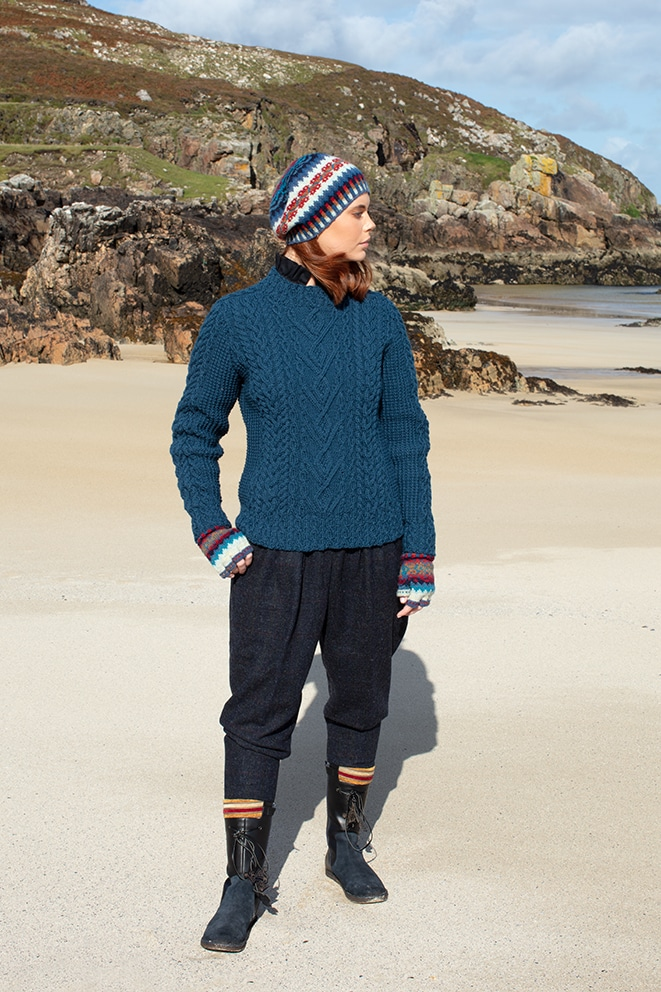 Malin and Wave patterncard knitwear designs by Alice Starmore in pure wool Hebridean 2 Ply and Bainin hand knitting yarn