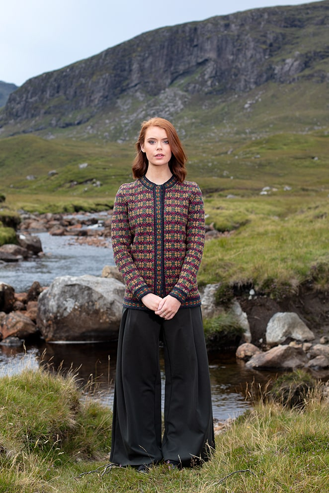 Cailleach cardigan hand knitwear design from the book Glamourie by Alice Starmore