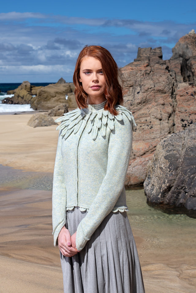 Raven cardigan hand knitwear design from the book Glamourie by Alice Starmore