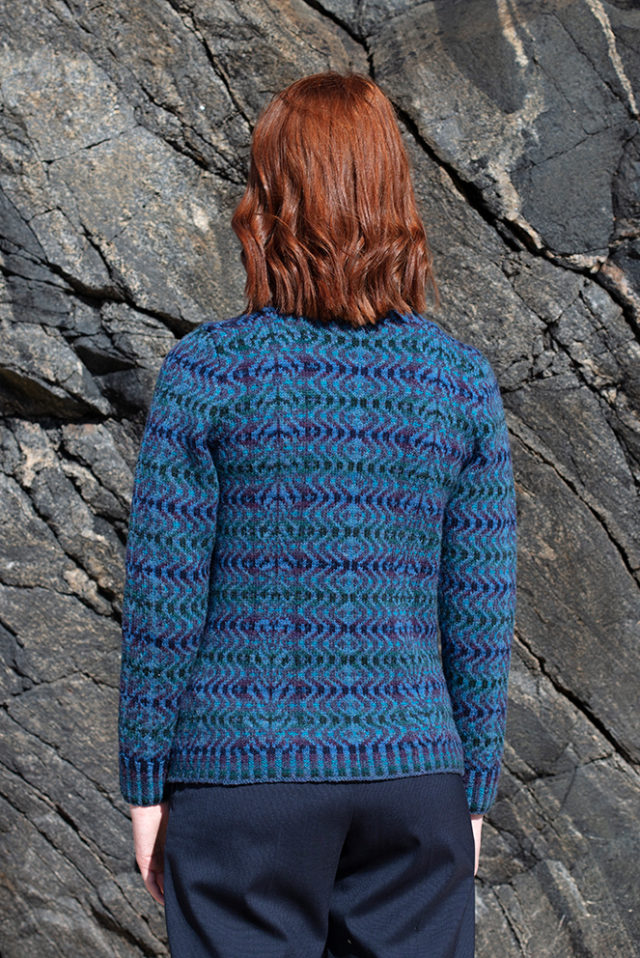 Selkie cardigan hand knitwear design from the book Glamourie by Alice Starmore