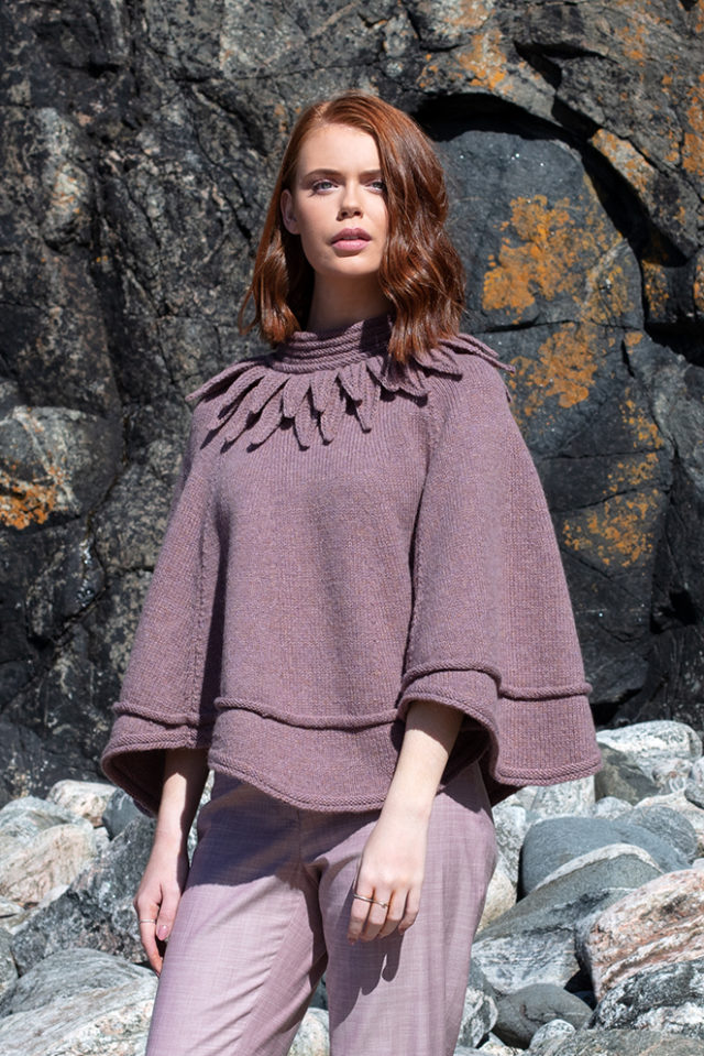 Raven poncho hand knitwear design from the book Glamourie by Alice Starmore