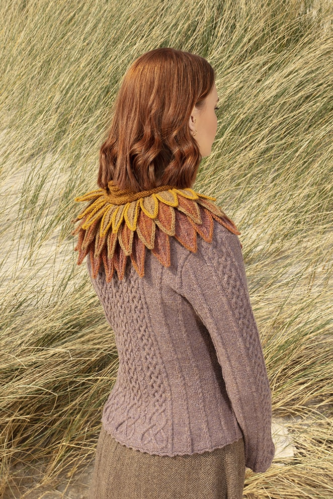 Raven Collar and Eala Bhan knitwear designs by Alice Starmore in pure wool Hebridean 2 & 3 Ply hand knitting yarn