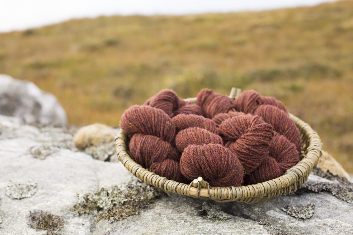 Alice Starmore 3 Ply Hebridean Yarn in the Lewis landscape