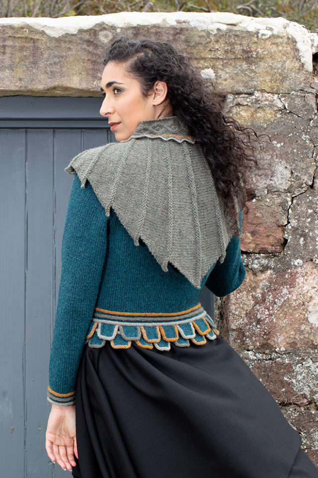 Eagle wrap in small length from the book Glamourie by Alice Starmore and Mol Eire patterncard kit design by Jade Starmore