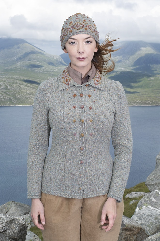 Mountain Hare Hat & Jacket designs from the book Glamourie by Alice Starmore
