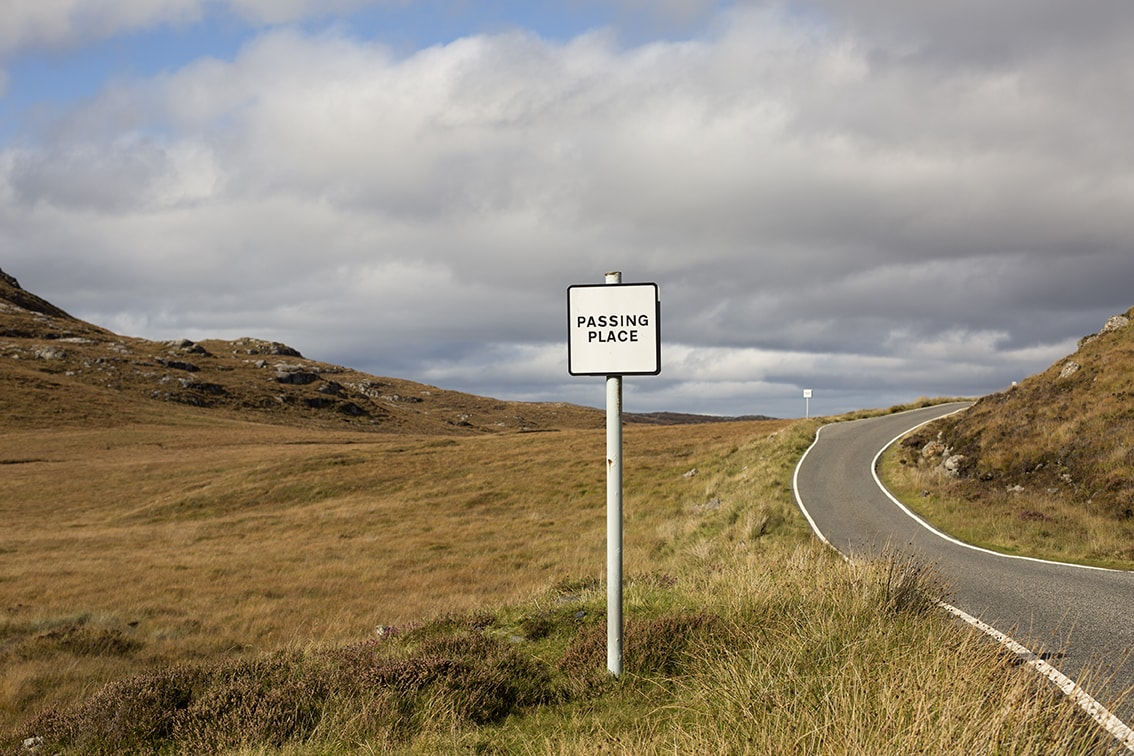 A passing place on a single track Hebridean road