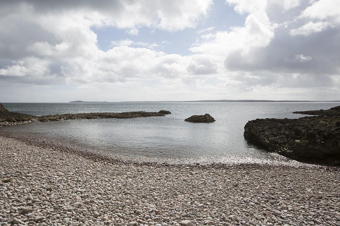 A shingle beach on the East of the island