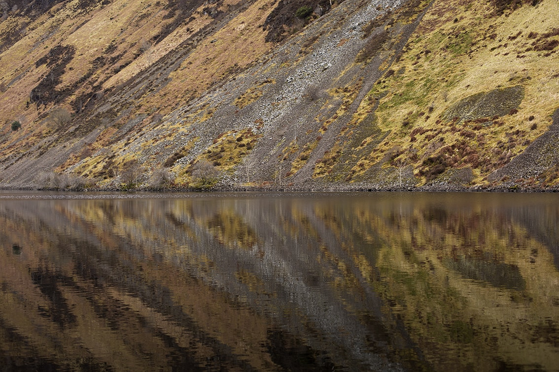 Reflections in water at Loch Awe in the Southern Highlands