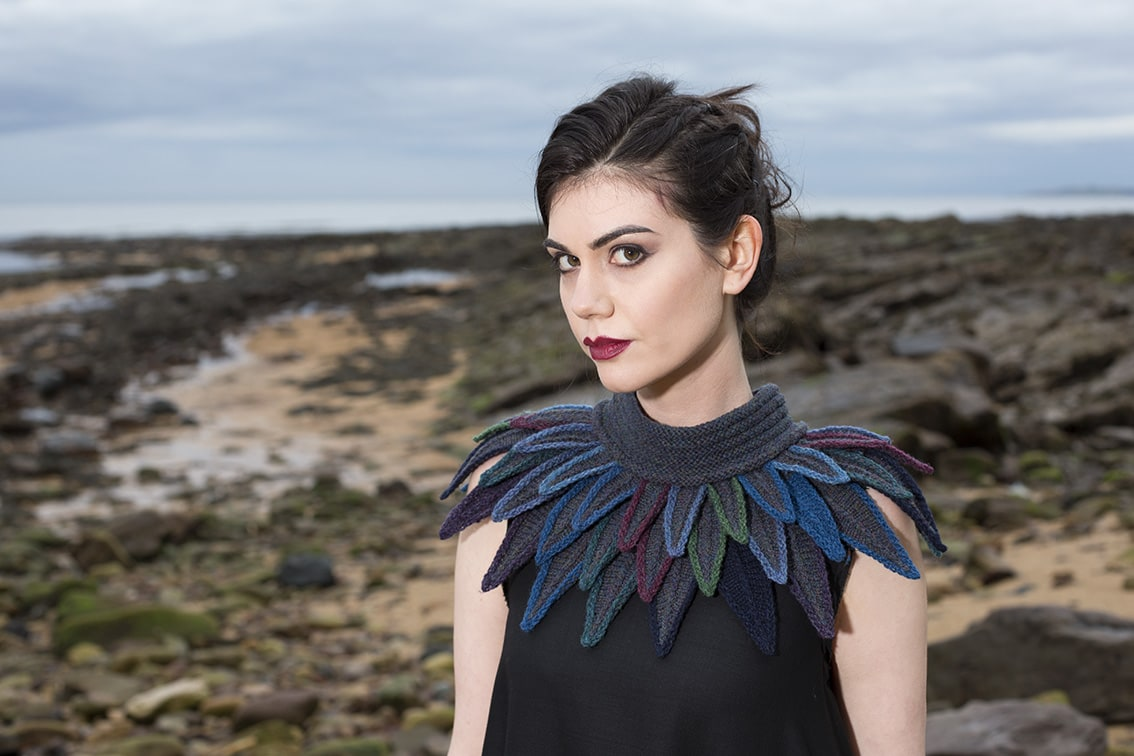 Dark Raven Collar hand knitting design from Glamourie by Alice Starmore