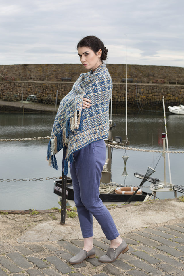 Ripple Wrap patterncard knitwear design by Alice Starmore in pure wool Hebridean 2 Ply hand knitting yarn