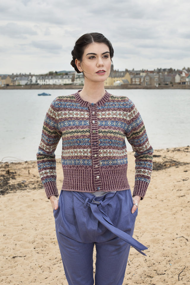 Peigi patterncard knitwear design by Alice Starmore in pure wool Hebridean 2 Ply hand knitting yarn