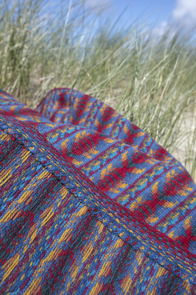 Reef Baby Blanket patterncard knitwear design by Alice Starmore in pure wool Hebridean 2 Ply hand knitting yarn