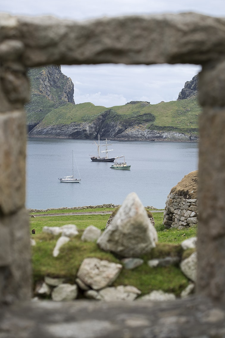 Village Bay on St Kilda through the window of one of the ruined houses