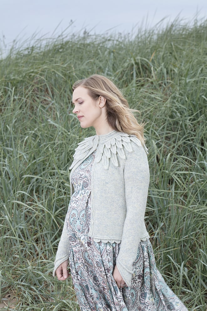 Raven cardigan hand knitwear design in Solan Goose Hebridean 2 Ply from the book Glamourie by Alice Starmore