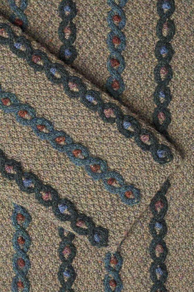 Detail of the Boudicca's Braid knitwear design from Aran Knitting by Alice Starmore in pure wool Hebridean 2 Ply hand knitting yarn