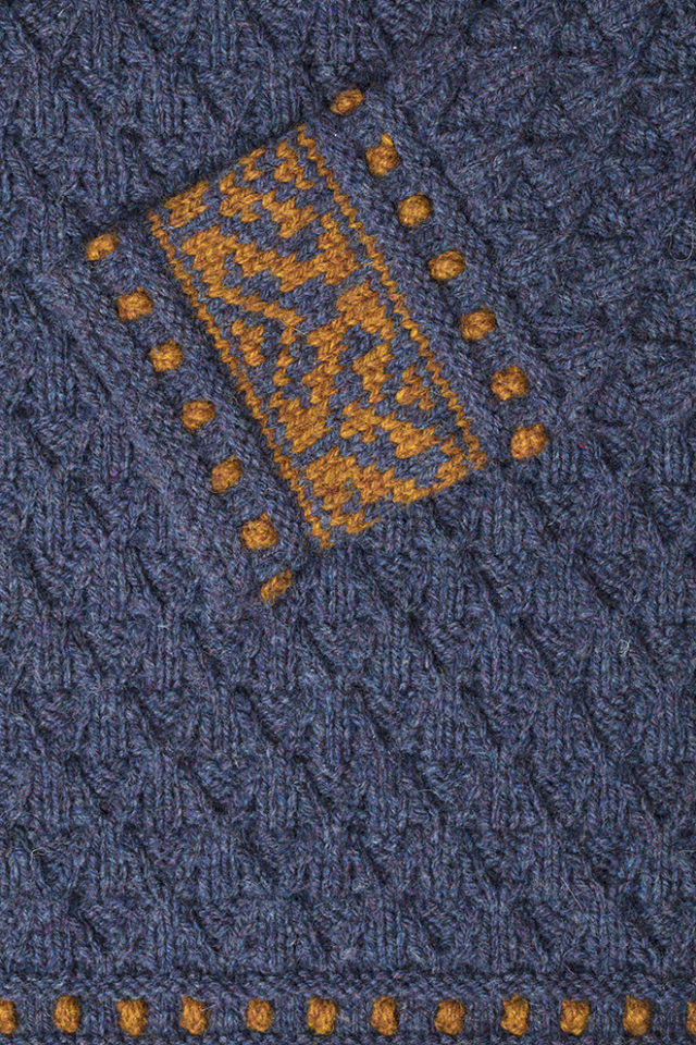 Detail of the Catherine Parr knitwear design from Tudor Roses by Alice Starmore in pure wool Hebridean 3 Ply hand knitting yarn