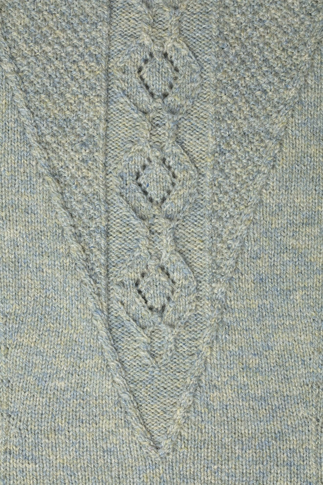 Detail of the Elizabeth I knitwear design from Tudor Roses by Alice Starmore in pure wool Hebridean 2 Ply hand knitting yarn