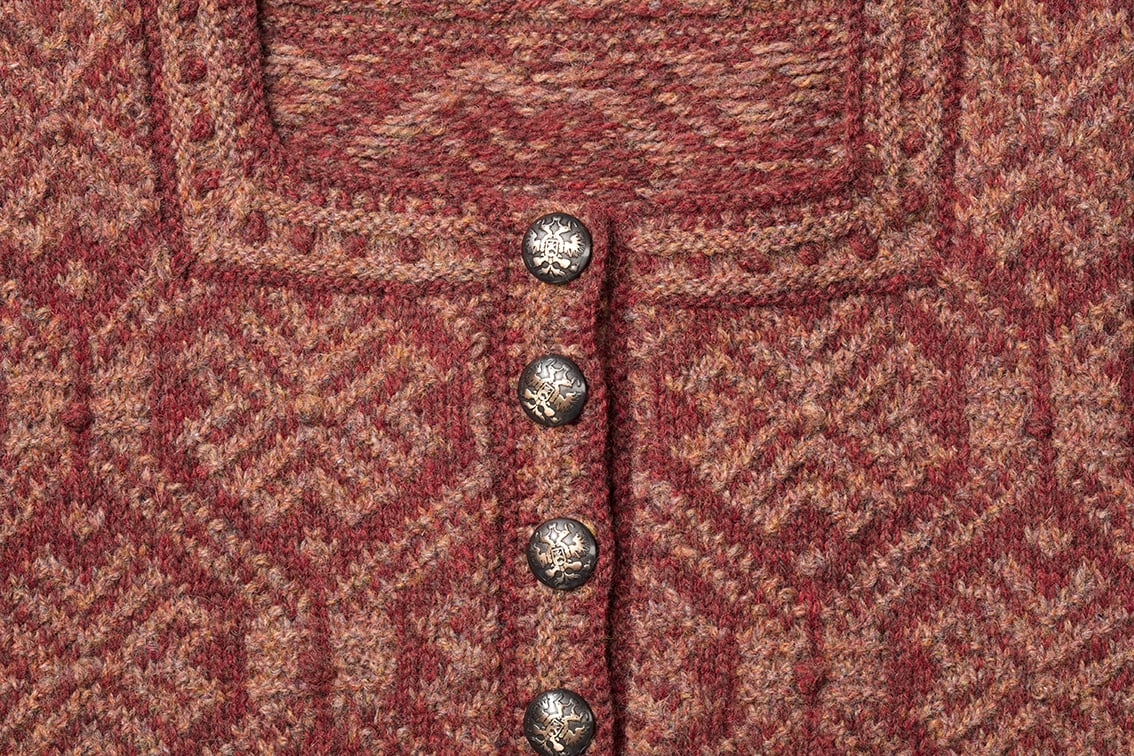 Detail of the Elizabeth Of York knitwear design from Tudor Roses by Alice Starmore in pure wool Hebridean 2 Ply hand knitting yarn