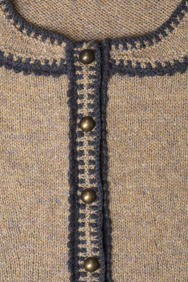 Detail of the Elizabeth Woodville knitwear design from Tudor Roses by Alice Starmore in pure wool Hebridean 2 Ply hand knitting yarn