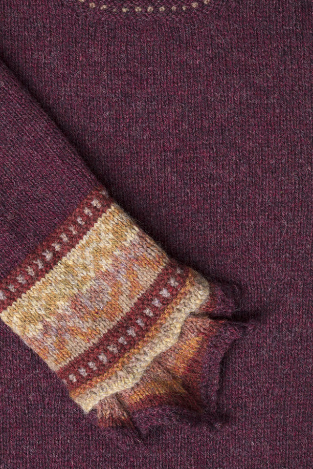 Detail of the Herald knitwear design patterncard kit by Alice Starmore in pure wool Hebridean 2 Ply hand knitting yarn