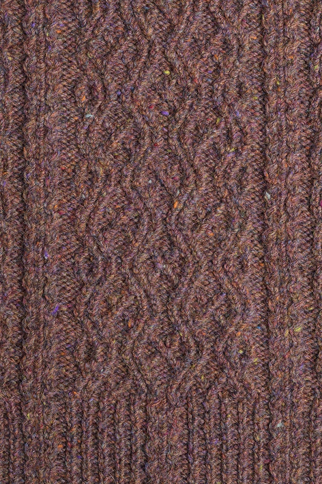 Detail of the Irish Moss knitwear design from Aran Knitting by Alice Starmore in pure wool Hebridean 3 Ply hand knitting yarn