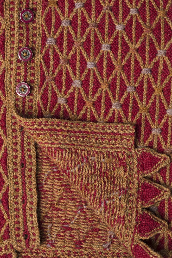 Detail of the Jane Seymour knitwear design from Tudor Roses by Alice Starmore in pure wool Hebridean 2 Ply hand knitting yarn