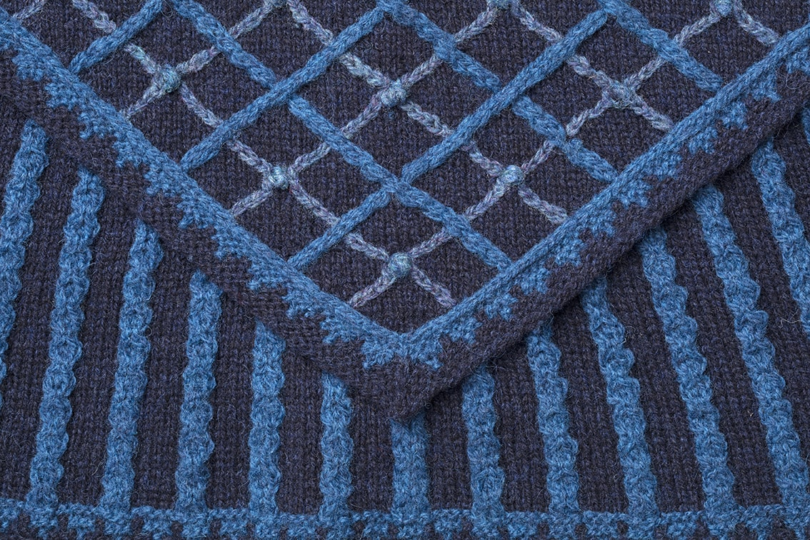 Detail of the Katherine Howard knitwear design from Tudor Roses by Alice Starmore in pure wool Hebridean 2 Ply hand knitting yarn