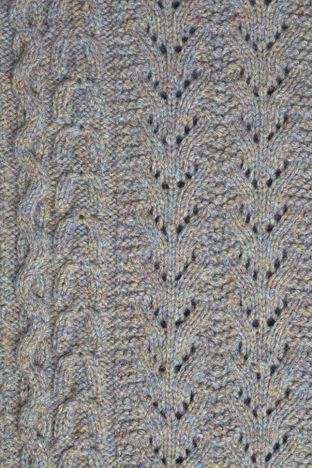 Detail of the Maidenhair Shawl knitwear design from Aran Knitting by Alice Starmore in pure wool Hebridean 3 Ply hand knitting yarn