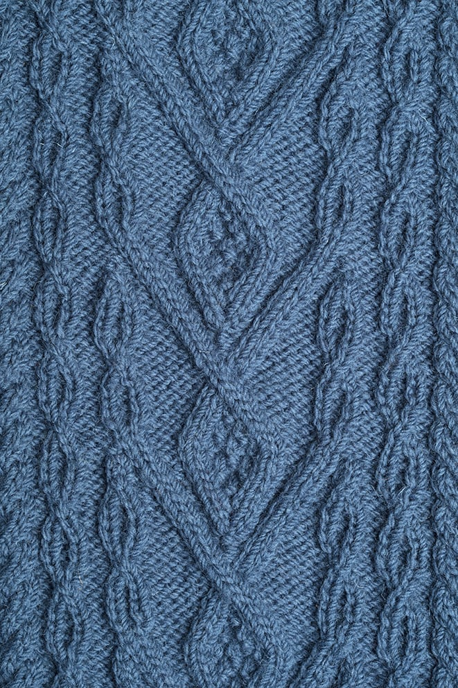 Detail of the Malin knitwear design patterncard kit by Alice Starmore in pure wool Bainin hand knitting yarn