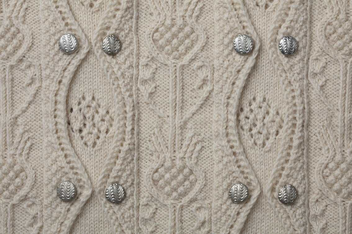 Detail of the Margaret Tudor knitwear design from Tudor Roses by Alice Starmore in pure wool Scottish Fleet hand knitting yarn